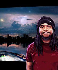 1 Portrait + 3 words + floating background