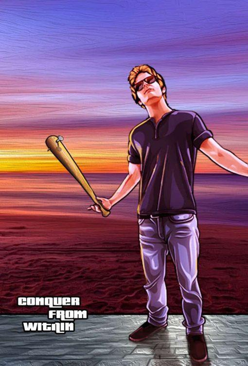 1 Portrait + baseball bat + 3 words + background